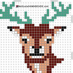 Deer hama perler beads pattern maybe a Christmas card/ornament? Pearler Bead Patterns, Perler Patterns, Loom Patterns, Beading Patterns, Perler Beads, Perler Bead Art, Beaded Cross Stitch, Cross Stitch Embroidery, Cross Stitch Patterns