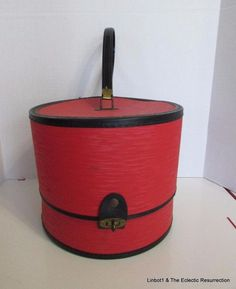 Vintage 1960s Wig Case Removable Styrofoam Form & Spike Red Black Wiglet Size