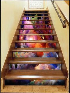 Best Ideas For Home Stairs Design With Aquarium 08 Tiled Staircase, Painted Staircases, Marble Stairs, Stair Art, Stair Decor, Pole Barn House Plans, Pole Barn Homes, Home Stairs Design, House Design