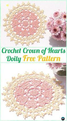 Crochet Crown of Hearts Doily Pattern - Crochet Doily Free Patterns