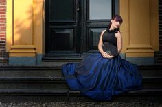 Blue and chiffon gown by Skeletons in the closet. Photo by Henk van Rijsen model Nienke