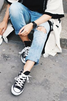 the best collobration: #RippedJeans & #Converse
