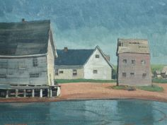Alan Collier - North Rustico Harbour 12 x 16 Oil on board (1970) Oil, Artists, Board, Painting, Painting Art, Paintings, Painted Canvas, Artist, Planks