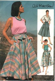 Vintage Beginner Sewing Pattern Circle Skirt with Pockets by HoneymoonBus, $5.99