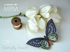 DIY - Spilla Farfalla photo transfer fabric butterfly Fabric Butterfly, Butterfly Crafts, Diy Angel Wings, Butterfly Ornaments, Crafts For Kids, Diy Crafts, Needlework, Brooch, Photo Transfer