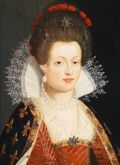 1605 Maria de Medici attributed to Frans Pourbus the Younger note tall hair French History, European History, Art History, Luis Ix, Voyage Florence, Isabel I, 17th Century Fashion, French Royalty, Italian Renaissance