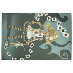 Alice in Wonderland whimsical playing cards, cute kitchen towel