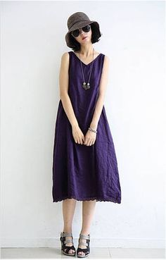 Linen Dress in Purple