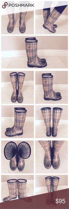 ☔️ Burberry Check Rain Boots ☔️ Heavily worn, but still very wearable! There are scuffs on the heels and the bottoms are worn as well. Rubber soles and very rainproof! You can stand in full puddles and you will still be dry. The insoles are also very worn (see last photo) so you will probably either want to take them out or put in a new pair. Burberry Shoes Winter & Rain Boots