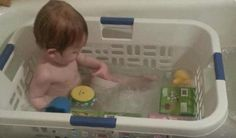 This is one of the best ideas I've ever seen. The baby has something to lean up against, the toys can't get away and it could save countless children from drowning because the have something, besides the slick tub walls, to pull themselves up on in case the fall under the water.