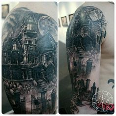 Blackwork tattoo. Haunted house half sleeve.