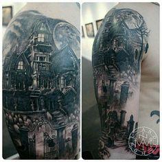 Haunted house, hanged man, grave yard, full moon scene, heavy shading, detailed custom tattoo Andy Howl Tattoo Artist   HOWL Gallery/Tattoo   Ft Myers - Florida