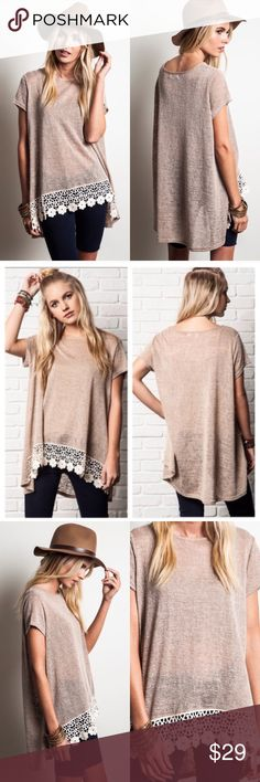 ❣️NEW❣️ Mocha Floral Lace Crochet Loose Tunic Top Super cute casual top. Firm price. No trades. Slightly sheer. Floral bottom. S M L runs true. Ships 10/19 Tops Tees - Short Sleeve