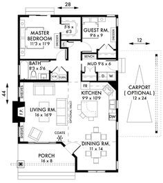 I really like this little 2 bedroom floor plan Plan No.595009 House Plans by WestHomePlanners.com