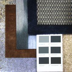 From left to right: Lustre Tile Wallpaper, Curzon Velvet, Trinidad Wallpaper, Langdale Velvet, Rondelle Chenille Fabric,  Corteccia Wallpaper.