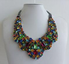 Statement necklace, Stunning necklace, Olivia necklace, Awesome necklace, Collar necklace with rhinestone and Swarovski strass IV148 by IvMiro on Etsy