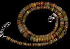 "66CRTS 3.5to7MM 18"" ETHIOPIAN OPAL RONDELLE BEAUTIFUL BEADS NECKLACE OBI3058 #OPALBEADSINDIA"