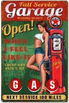 plaque publicitaire pin up sexy et pompe a essence garage open tole metal sm312   Collections, Objets publicitaires, Plaques émaillées rééditions   eBay!