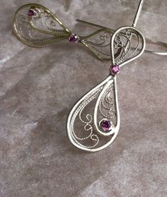 Silver Filigree Earrings Rhodolite Garnet by Meliciap on Etsy, $298.00