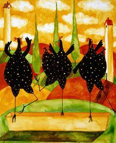 Hubbs Art Folk Prints Country Farm Funny Fowls Chickens Chicken Hen Ballet Painting by Debi Hubbs