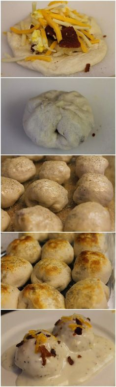 Stuffed Breakfast Bubble Biscuits #food #recipes