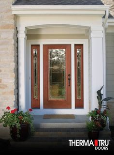Therma-Tru Fiber-Classic Mahogany Collection fiberglass door with Maple Park decorative glass.