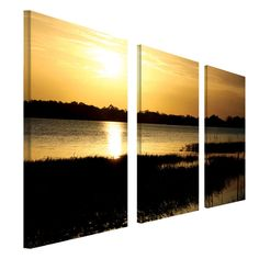 Patty Tuggle 'End of the Day' 3-panel Art Set, Blue