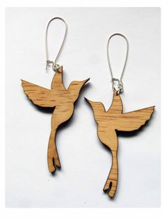 Cool hummingbird wooden earrings