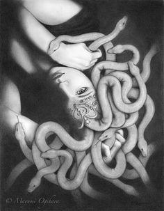 """""""Medusa"""" graphite) by Mayumi Ogihara Medusa Snake, Medusa Art, Medusa Gorgon, Medusa Tattoo, Snake Art, Medusa Drawing, Greek Monsters, Snake Goddess, Goddess Art"""