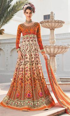 Buy online Printed #Orange and #Beige #FrockSuit (SKU Code : SUPJDSFL7393) at Ishimaya Fashion.