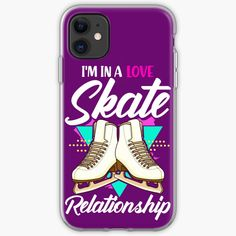 'Funny Figure Skating: In A Love Skate Relationship' iPhone-Hülle & Cover von PiolettaRedArt Graphic T Shirts, Ice Skating, Figure Skating, Ice Rink, Vintage T-shirts, Gifts For Girls, Cover, Iphone 11, Skate