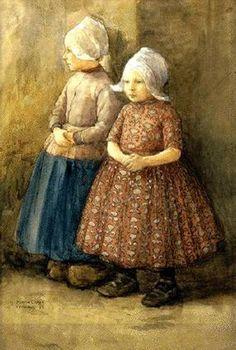 Two Dutch Girls  Marcia Oakes Woodbury (1865 – 1913)
