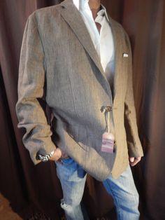 Cremieux Sahara LINEN Jacket Blazer Sport Coat Elbow Patches Pocket Square XL 44 #Cremieux #TwoButton