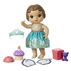 It's always a party with Baby Alive Cupcake Birthday Baby doll! Help prepare for a party and then celebrate with this adorable birthday-themed baby. Kids can pretend to send invitations and wrap the doll's gift by placing the teddy bear in the box. Baby a Toys For Girls, Kids Toys, 5 Kids, Baby Alive Dolls, Baby Doll Accessories, Realistic Baby Dolls, Birthday Cupcakes, Toys Shop, Brunette Hair