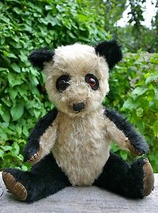 "Old Vintage Antique Black White Mohair 16"" Chiltern Panda Teddy Bear C 1940'S 