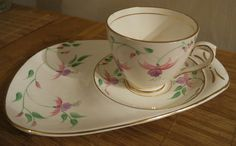 T F & S Phoenix Ware Hand Painted Fuschia Teacup and Saucer Plate