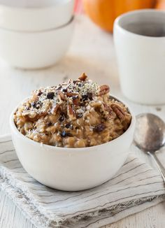 Pumpkin Spice Oatmeal--I prefer to cook oatmeal with almond milk --instead of water---and I microwave it for 2 minutes and use a lot less liquid...makes it less mushy!