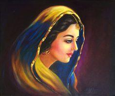 Artwork of a women, Punjab,India - Ravivarma Paintings, Indian Art Paintings, Abstract Paintings, Landscape Paintings, Rajasthani Painting, Rajasthani Art, Cool Art Drawings, Art Drawings Sketches, Lip Drawings