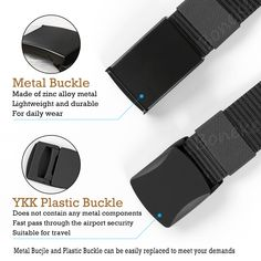 【Plastic Buckle】Top quality plastic belt buckle made of high strength polyacetal, does not contain any metal components to ensure an easy and fast pass through the airport security, no need to tear down. Suitable for travel.