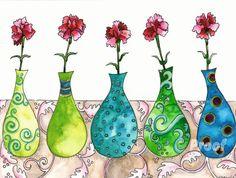 Pink Carnations  Giclee  Fine Art Print 11x14 by limezinnias, $38.00