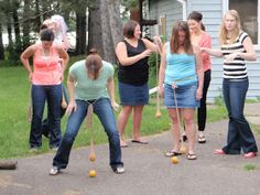 BACHELORETTE Work Your Man Junk Game: Tie a pair of nylons with an orange at the bottom around your waist. The first bachelorette to move the object on the ground to the finish line wins a prize. Bachlorette Party, Bachelorette Party Games, Hen Party Games, Redneck Party Games, Adult Party Games Funny, Party Games For Adults, Party Games Group, Silly Games, Adult Games