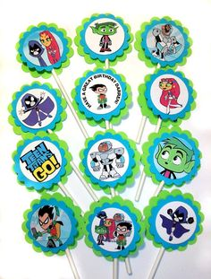 ** DONT FORGET YOUR PERSONAL MESSAGE ** This listing is for one dozen (12 pcs) of Teen Titans Go themed Cupcake Toppers. Each topper is mounted
