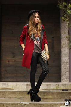 FashionCoolture - 06/03/2013 look du jour Choies burgundy coat leather pants leopard rock t-shirts (8)