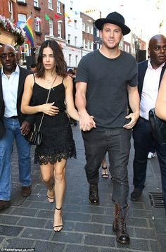 Stylish couple: Channing Tatum's wife Jenna, 34, stunned in a black lace skirt at a screen...
