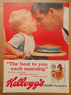Vintage Ads Kellogg's Corn Flakes & Four Roses Blended Whiskey - Retro Memorabilia, Home Decor, Wall Art, Scrapbooking via Etsy