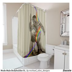 Senseless. nude behind shower curtain with