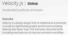 Velocity.js - high performance animation library