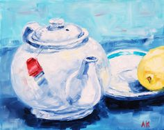 A Lazy Tuesday  Still Life Oil Painting 8 x by AlisonKolkebeckArt, $50.00