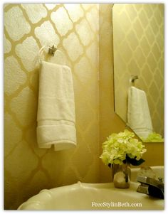 Large Marrakesh Trellis Moroccan Stencil with Oyster Pearl Royal Stencil Creme paint on powder bath wells. Great sheen! Stenciling by Beth of the FreeStylin' Beth blog.