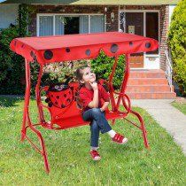 2 Person Kids Patio Swing Porch Bench with Canopy Color: Red Material: Fabric oxford cloth Canopy Swing, Patio Canopy, Mirror Jewellery Cabinet, Jewelry Mirror, Yard Furniture, Outdoor Furniture, Childrens Swings, Best Cyber Monday Deals, Porch Bench